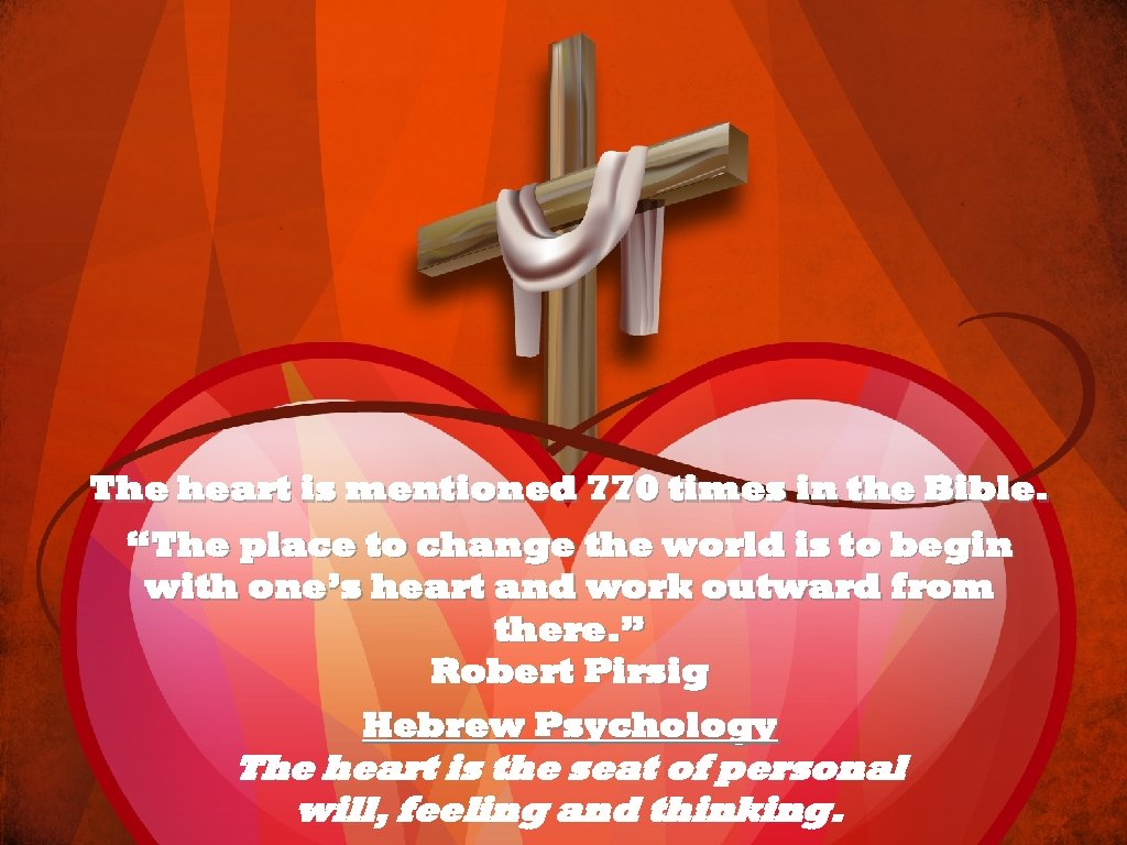 "The heart is mentioned 770 times in the Bible. ""The place to change the"