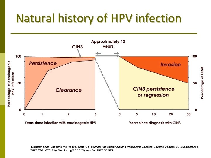 Natural history of HPV infection Moscicki et al. Updating the Natural History of Human