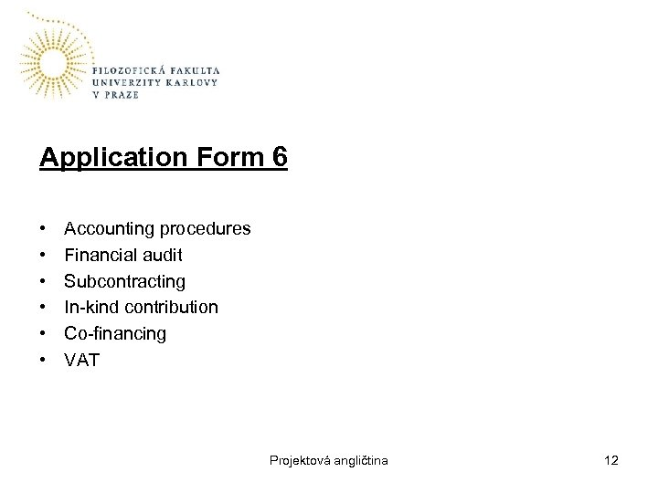 Application Form 6 • • • Accounting procedures Financial audit Subcontracting In-kind contribution Co-financing