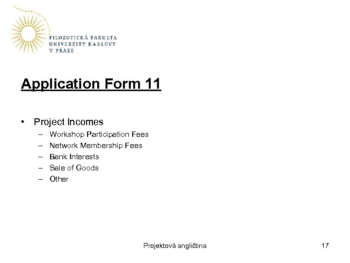 Application Form 11 • Project Incomes – – – Workshop Participation Fees Network Membership