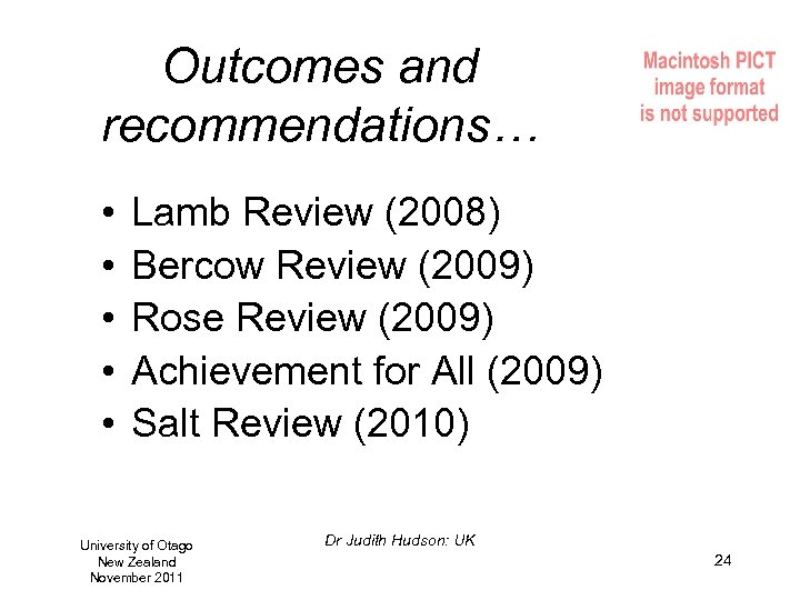 Outcomes and recommendations… • • • Lamb Review (2008) Bercow Review (2009) Rose Review