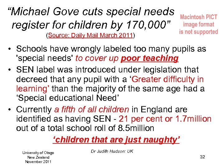 """""""Michael Gove cuts special needs register for children by 170, 000"""" (Source: Daily Mail"""