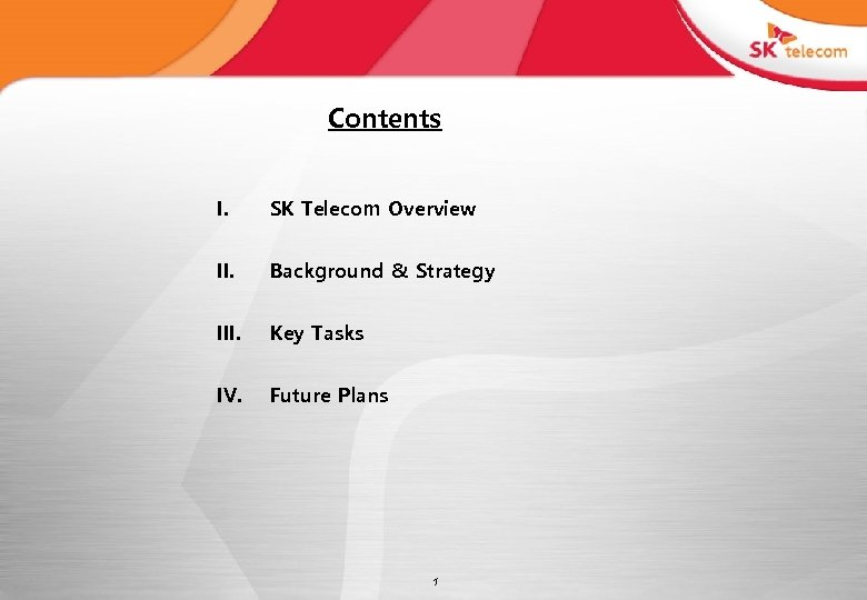 Contents I. SK Telecom Overview II. Background & Strategy III. Key Tasks IV. Future