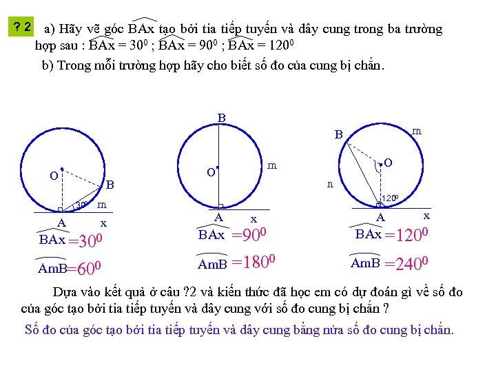 ? 2 a) Hãy vẽ góc BAx tạo bởi tia tiếp tuyến và dây