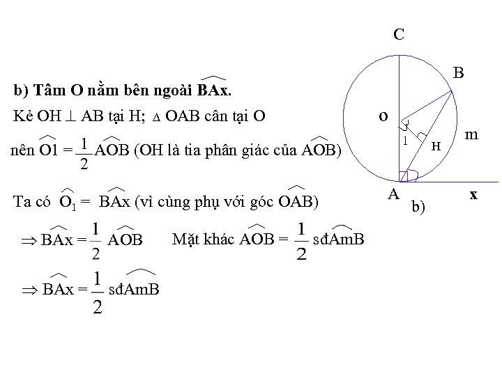 C B b) Tâm O nằm bên ngoài BAx. OAB cân tại O o
