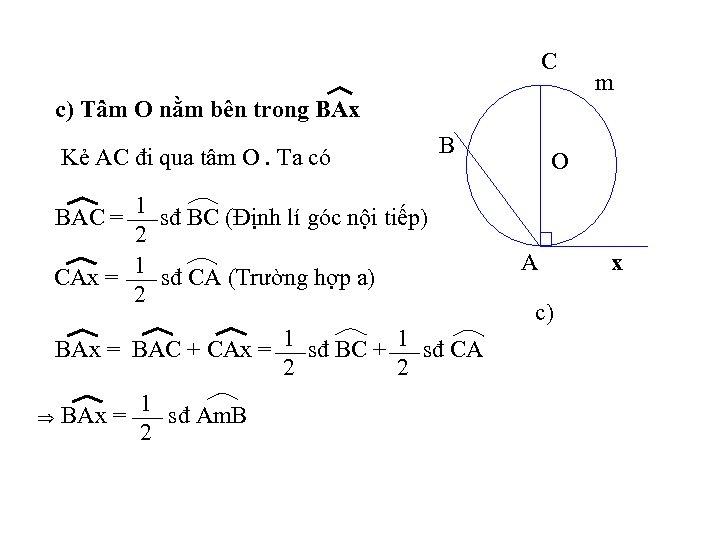 C c) Tâm O nằm bên trong BAx Kẻ AC đi qua tâm O.