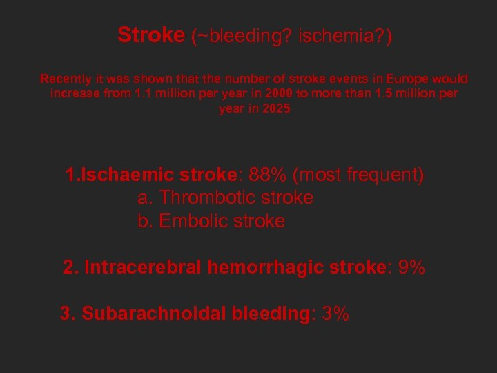 Stroke (~bleeding? ischemia? ) Recently it was shown that the number of stroke events
