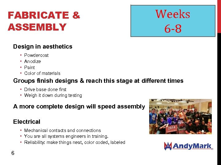 FABRICATE & ASSEMBLY Weeks 6 -8 Design in aesthetics • • Powdercoat Anodize Paint