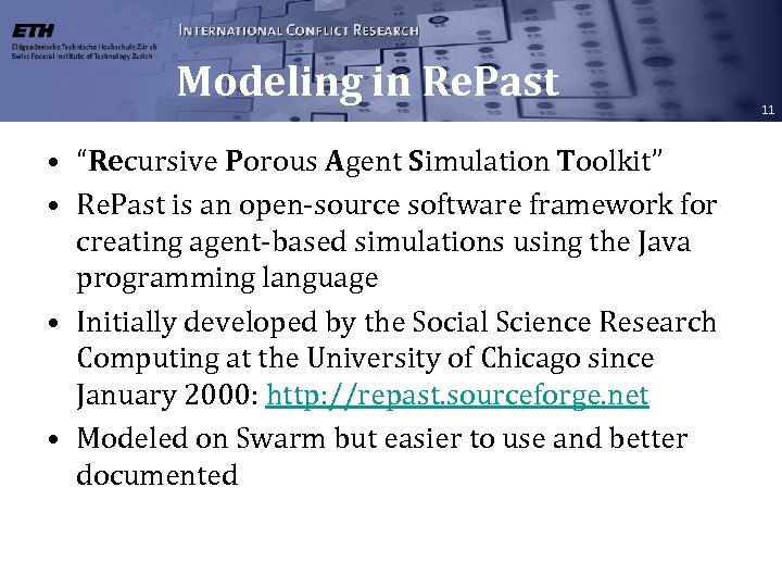 "Modeling in Re. Past • ""Recursive Porous Agent Simulation Toolkit"" • Re. Past is"