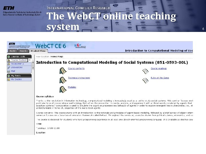 The Web. CT online teaching system 6