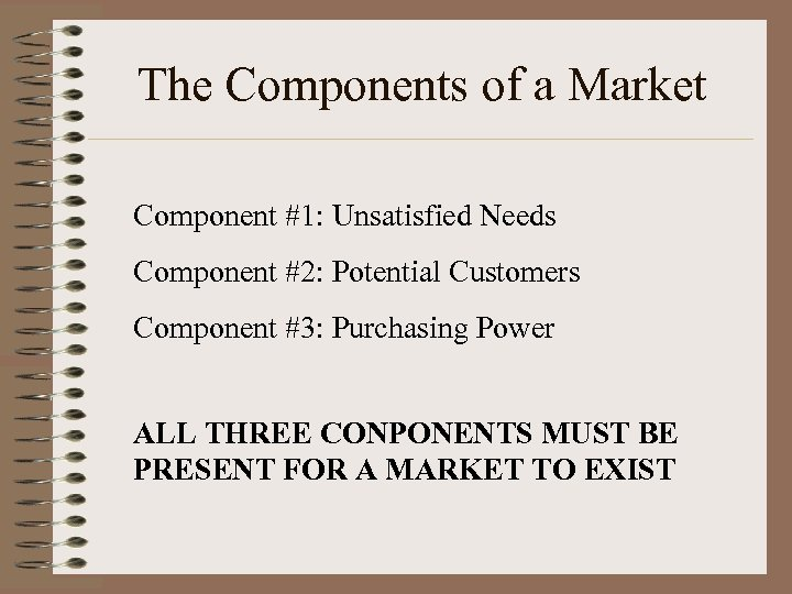 The Components of a Market Component #1: Unsatisfied Needs Component #2: Potential Customers Component