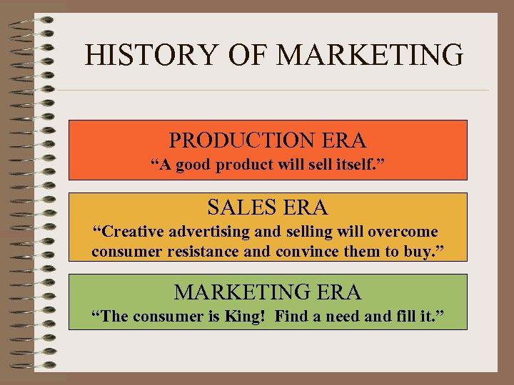 "HISTORY OF MARKETING PRODUCTION ERA ""A good product will sell itself. "" SALES ERA"