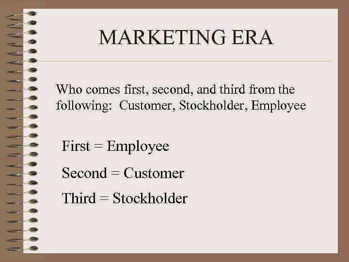MARKETING ERA Who comes first, second, and third from the following: Customer, Stockholder, Employee