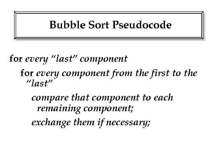 """Bubble Sort Pseudocode for every """"last"""" component for every component from the first to"""
