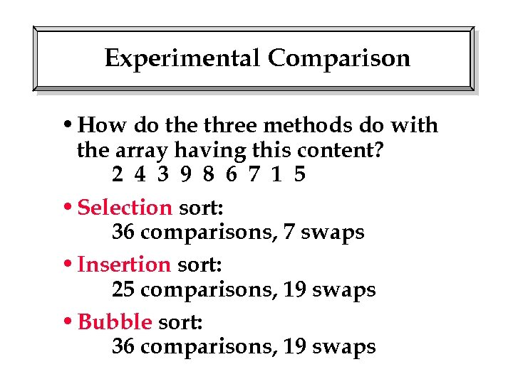 Experimental Comparison • How do the three methods do with the array having this