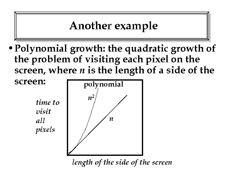 Another example • Polynomial growth: the quadratic growth of the problem of visiting each