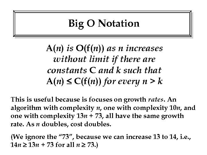 Big O Notation A(n) is O(f(n)) as n increases without limit if there are