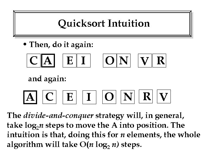 Quicksort Intuition • Then, do it again: C A E I O N V