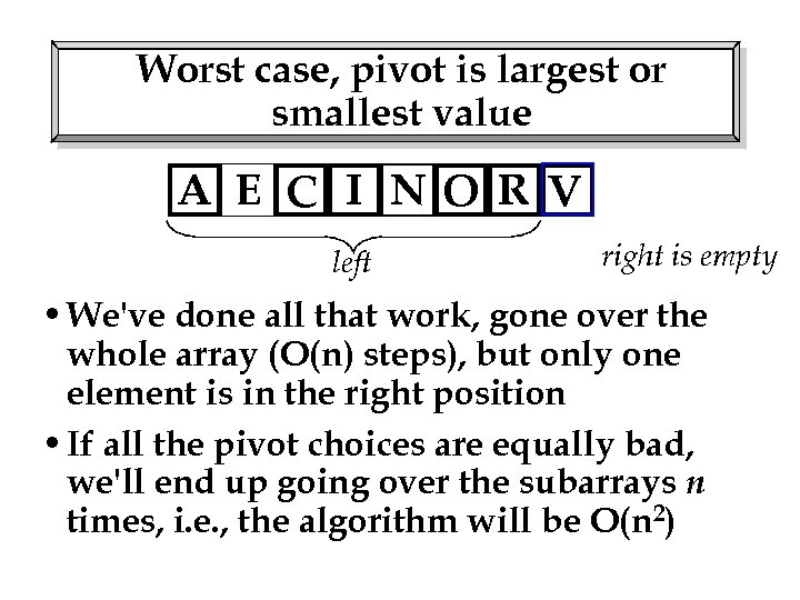 Worst case, pivot is largest or smallest value A E C I NO R