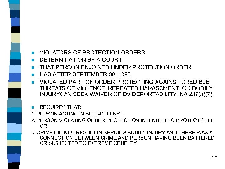 n n n VIOLATORS OF PROTECTION ORDERS DETERMINATION BY A COURT THAT PERSON ENJOINED