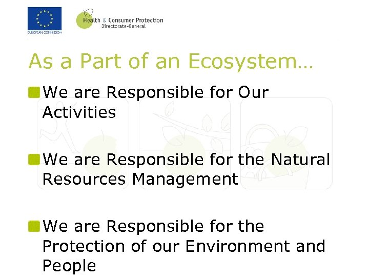 As a Part of an Ecosystem… We are Responsible for Our Activities We are