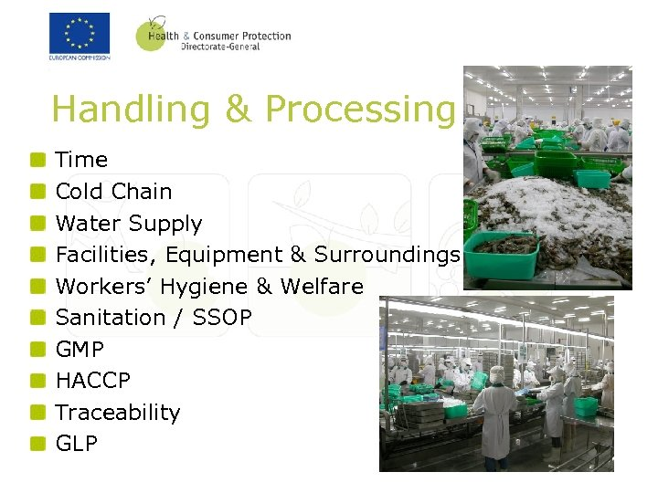 Handling & Processing Time Cold Chain Water Supply Facilities, Equipment & Surroundings Workers' Hygiene