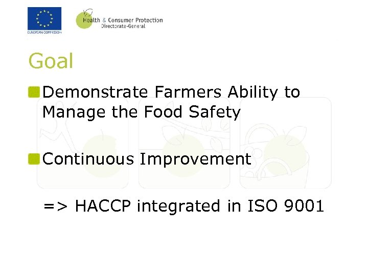 Goal Demonstrate Farmers Ability to Manage the Food Safety Continuous Improvement => HACCP integrated
