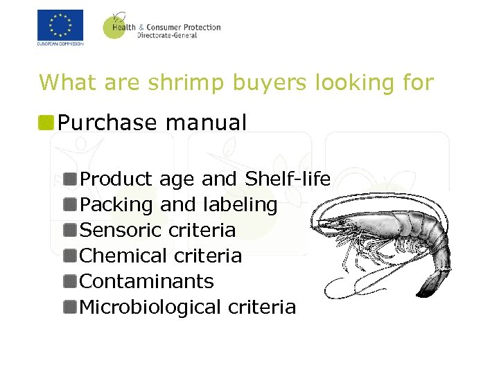What are shrimp buyers looking for Purchase manual Product age and Shelf-life Packing and