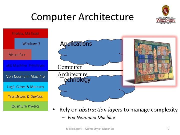 Computer Architecture Firefox, MS Excel Windows 7 Applications Visual C++ x 86 Machine Primitives