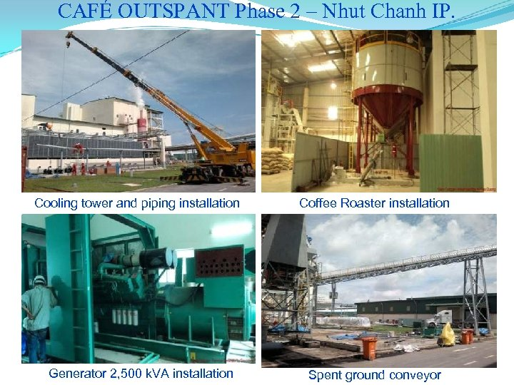 CAFÉ OUTSPANT Phase 2 – Nhut Chanh IP. Cooling tower and piping installation Generator