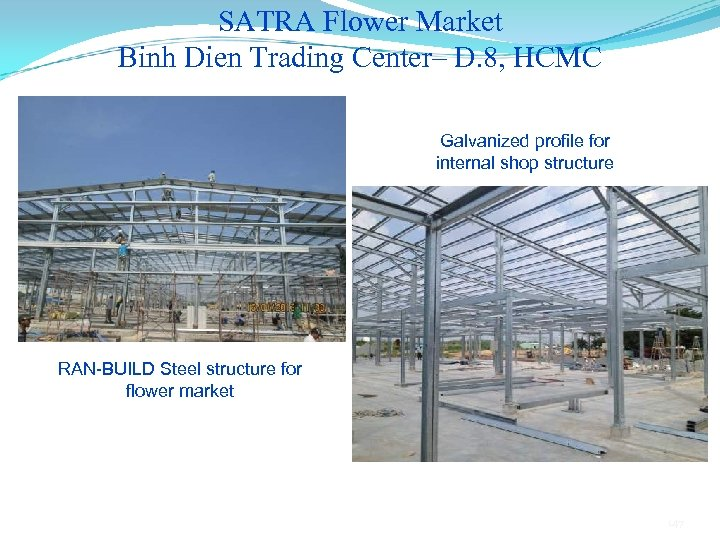 SATRA Flower Market Binh Dien Trading Center– D. 8, HCMC Galvanized profile for internal