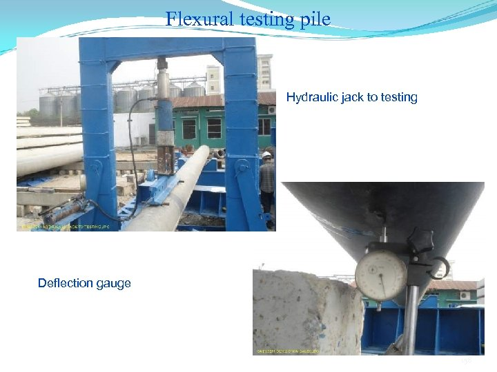 Flexural testing pile Hydraulic jack to testing Deflection gauge 158