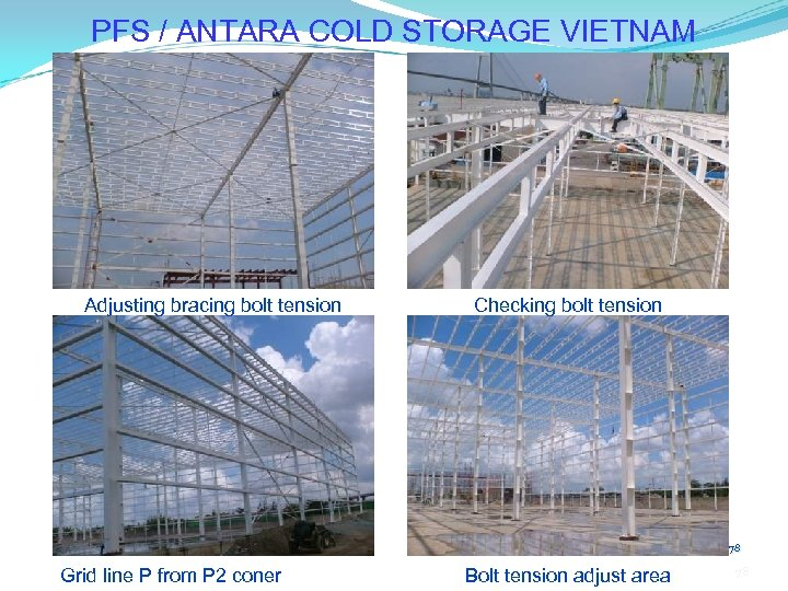 PFS / ANTARA COLD STORAGE VIETNAM Adjusting bracing bolt tension Checking bolt tension 78