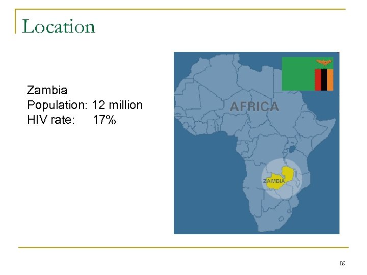 Location Zambia Population: 12 million HIV rate: 17% 16