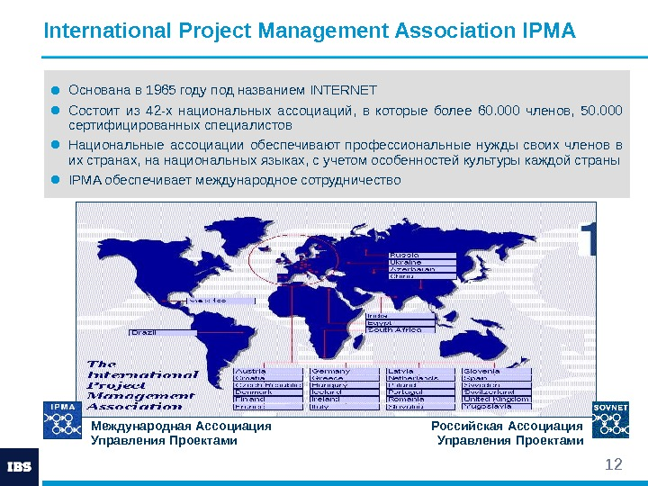 12 International Project Management Association IPMA ● Основана в 1965 году под названием INTERNET
