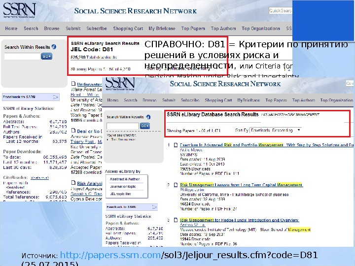 Источник:  http : // papers. ssrn. com /sol 3/Jeljour_results. cfm? code=D 81
