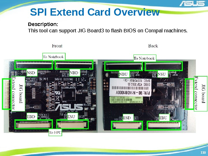 110110 SPI Extend Card Overview Description: This tool can support JIG Board 3 to
