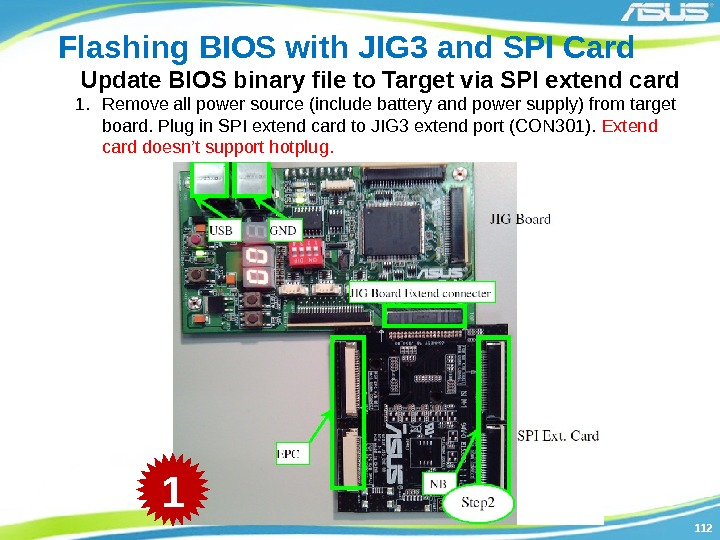 112112 Flashing BIOS with JIG 3 and SPI Card Update BIOS binary file to