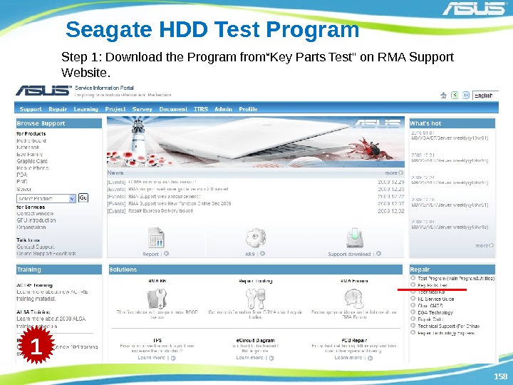 "158158 Seagate HDD Test Program Step 1: Download the Program from""Key Parts Test on"