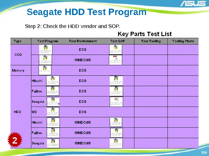 159159 Seagate HDD Test Program Step 2: Check the HDD vender and SOP. 2