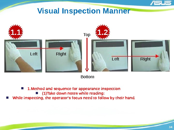 3434 Visual Inspection Manner 1. Method and sequence for appearance inspection (1)Take down notes