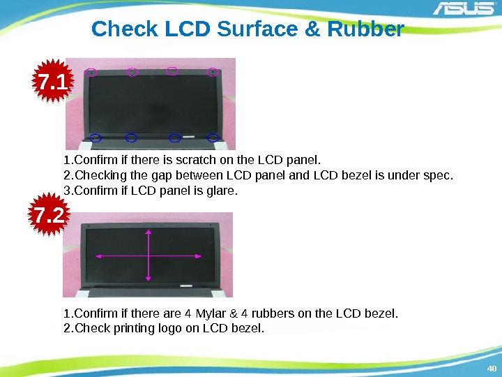 4040 Check LCD Surface & Rubber 1. Confirm if there is scratch on the