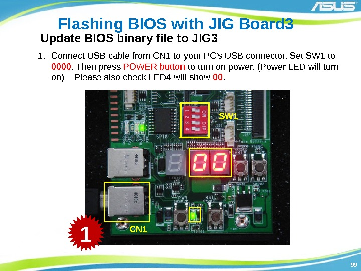 9999 Flashing BIOS with JIG Board 3 1. Connect USB cable from CN 1