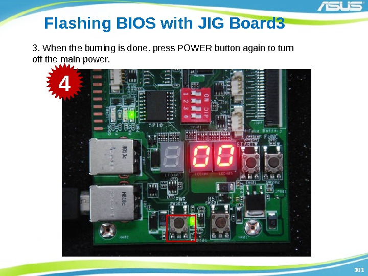 101101 Flashing BIOS with JIG Board 3 3. When the burning is done, press