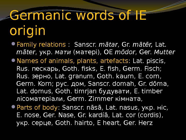 Germanic words of IE origin Family relations :  Sanscr.  mātar , Gr.
