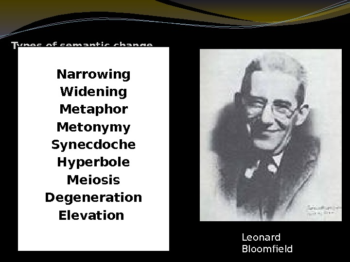 Types of semantic change Narrowing Widening Metaphor Metonymy Synecdoche Hyperbole Meiosis Degeneration Elevation Leonard