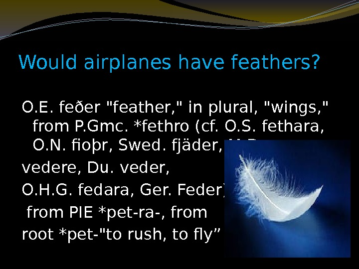 Would airplanes have feathers? O. E. feðer feather,  in plural, wings,  from