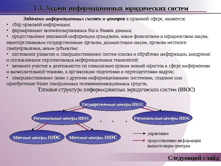 1. 3. Задачи информационных юридических систем Задачами информационных систем и центров в