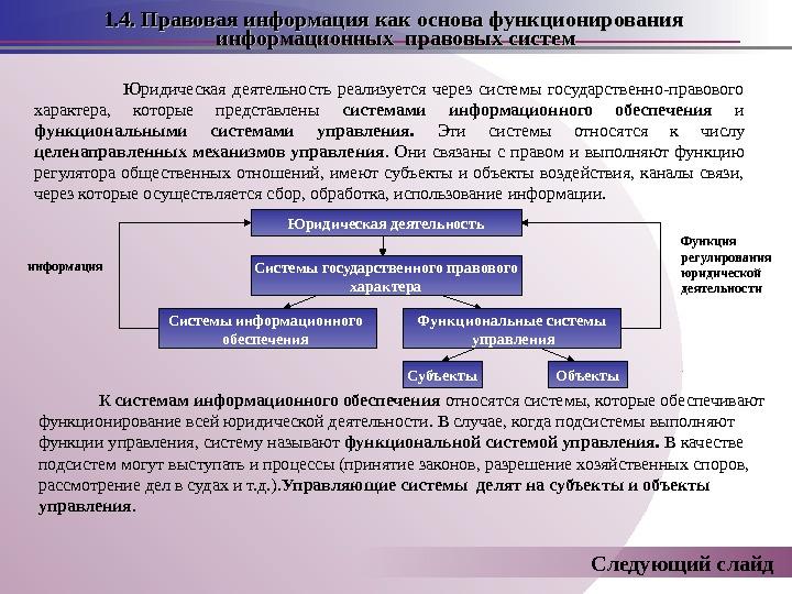 Юридическая деятельность реализуется через системы государственно-правового характера,