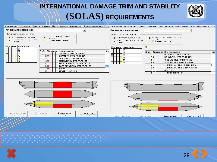 INTERNATIONAL DAMAGE TRIM AND STABILITY (SOLAS) REQUIREMENTS 28